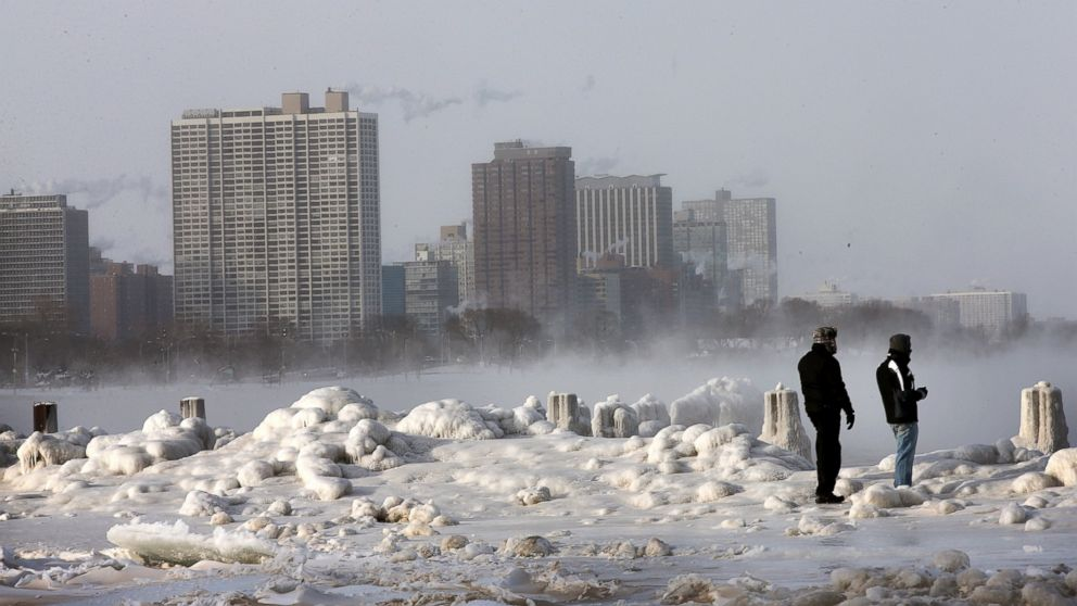 PHOTO: Ice builds up along Lake Michigan at North Avenue Beach, Jan. 6, 2014, in Chic