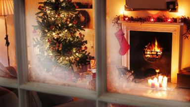 PHOTO: A Christmas scene through a window.