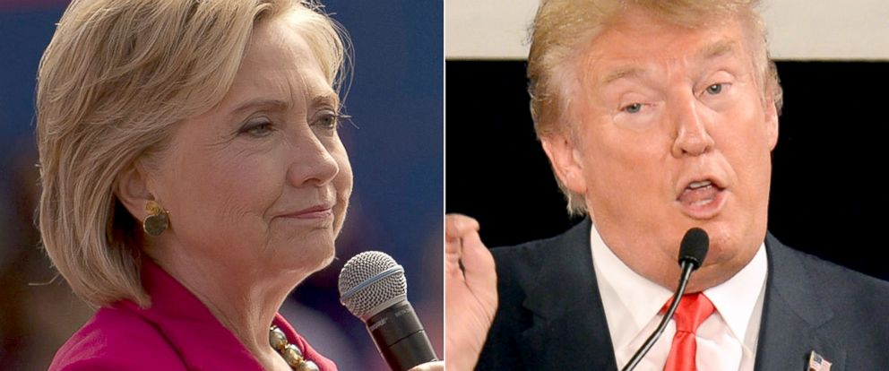 PHOTO: Hillary Clinton, left, and Donald Trump campaign for president.