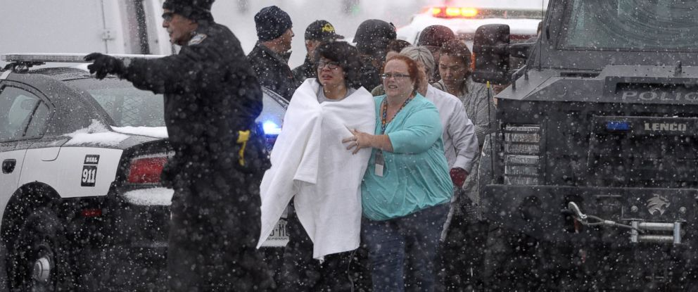 PHOTO: People are rescued near the scene of a shooting at the Planned Parenthood clinic in Colorado Springs, Colo., Nov. 27, 2015.