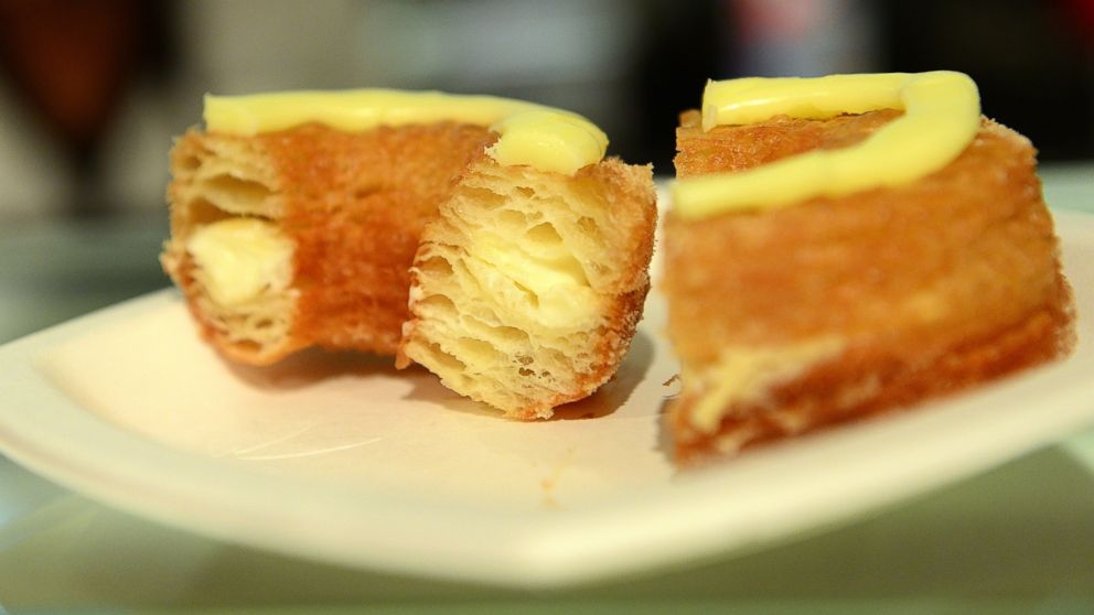 PHOTO: A Cronut sits on a plate at Dom