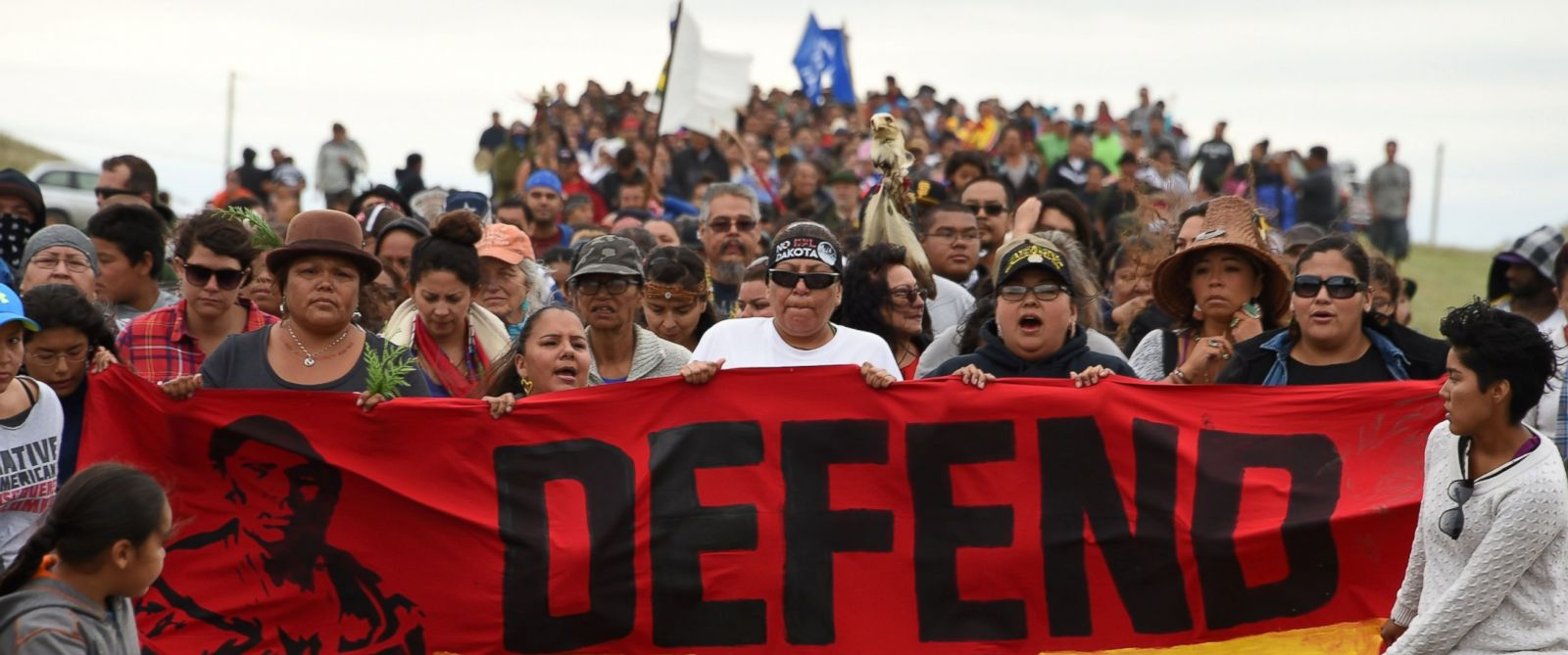 PHOTO: Native Americans march to a burial ground sacred site that was disturbed by bulldozers building the Dakota Access Pipeline (DAPL), Sept. 4, 2016 near Cannon Ball, North Dakota.