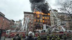 PHOTO: A building collapsed after it was rocked by a blast and a fire, March 16, 2015, in New York.