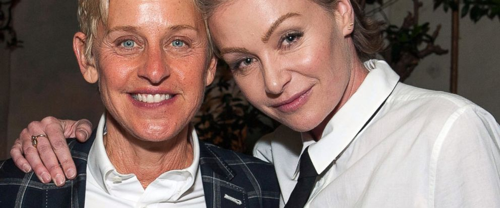 "PHOTO: Ellen DeGeneres and Portia de Rossi attend Arianna Huffingtons ""Thrive"" book party hosted by Victoria Jackson, Kathy Freston and Dean Ornish, May 8, 2014, in Beverly Hills, Calif."