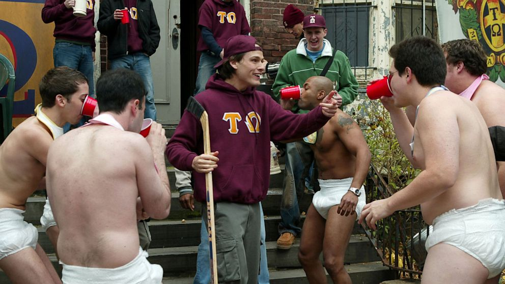 "PHOTO: Fraternity brothers participate in hazing during a Law & Order: SPECIAL VICTIMS UNIT television episode called ""Brotherhood."""