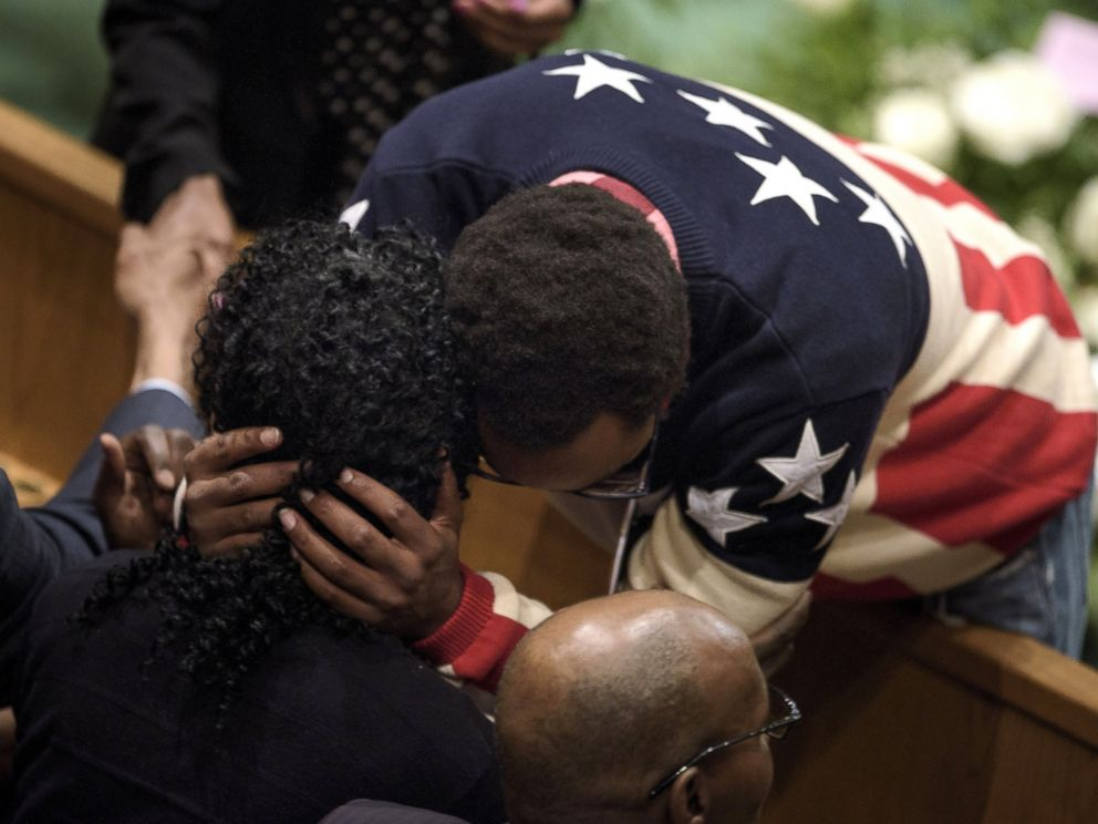 PHOTO: Gloria Darden is embraced while waiting before her son Freddie Grays funeral at New Shiloh Baptist Church in Baltimore, April 27, 2015.