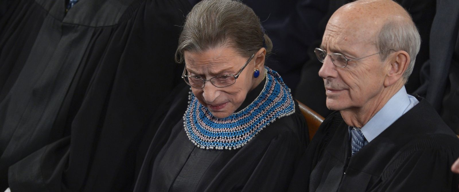 PHOTO: U.S. Supreme Court Justices Ruth Bader Ginsburg, left, and Stephen Breyer, right, listen as President Barack Obama delivers the State of the Union address before a joint session of Congress on Jan. 28, 2014 at the U.S. Capitol in Washington, D.C.