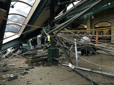 PHOTO: The roof collapsed after a NJ Transit train crashed into the platform at the Hoboken Terminal, Sept. 29, 2016, in Hoboken, New Jersey.