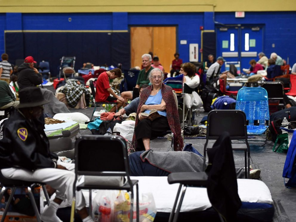 PHOTO: Local residents take shelter at the Pedro Menendez high school in St. Augustine, Florida, Oct. 6, 2016, ahead of hurricane Matthew.