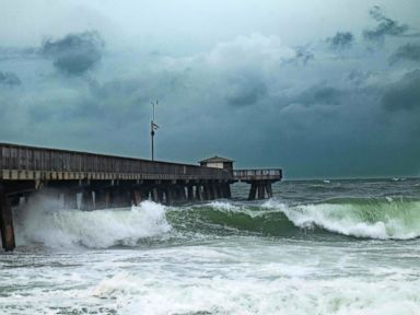 PHOTO: Waves pound the Pompano Beach Fishing Pier due to the inclement weather caused by Hurricane Matthew, Oct. 6, 2016, in Pompano beach, Florida.