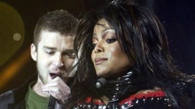 PHOTO: Janet Jackson, right, and Justin Timberlake, left, perform during the half-time show of Super Bowl XXXVIII at Reliant Stadium on Feb. 1, 2004 in Houston, Texas.