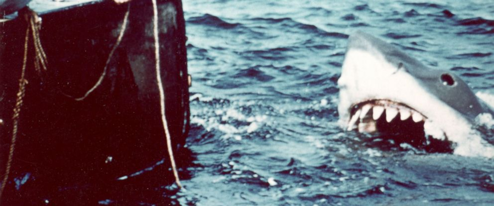 PHOTO: Richard Dreyfuss, left, and Robert Shaw in a scene from the film Jaws directed by Steven Spielberg, 1975.