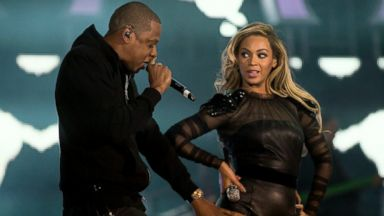 "PHOTO: Jay-Z joins Beyonce on stage at the ""Chime For Change: The Sound Of Change Live"" Concert at Twickenham Stadium, June 1, 2013, in London."
