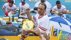 PHOTO: Joey Chestnut, champion eater, reacts after winning the Nathans Famous Fourth of July hot dog eating contest in Coney Island, New York, July 4, 2014.