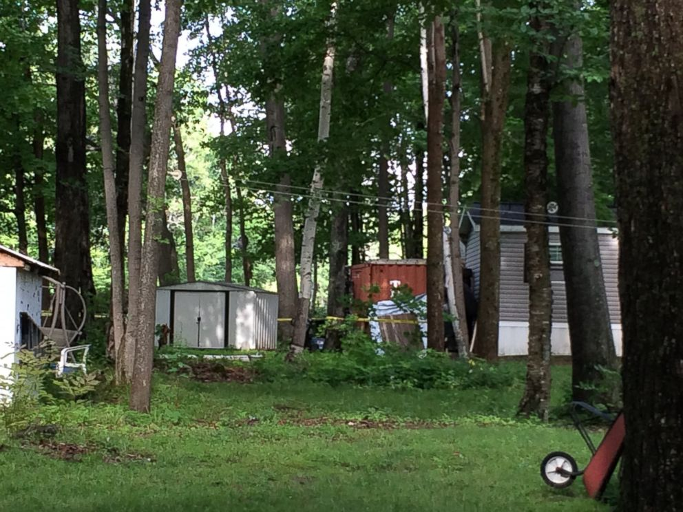 PHOTO: A red cargo container can be seen on the property of Nathaniel Kibby in Gorham, N.H., July 29, 2014.