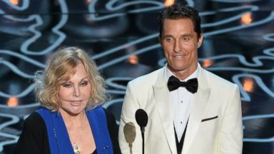 PHOTO: Actors Kim Novak, left and Matthew McConaughey speak onstage during the Oscars at the Dolby Theatre, March 2, 2014 in Hollywood, Calif.