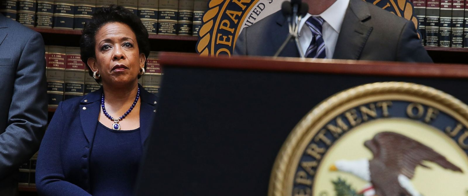 PHOTO: Attorney General Loretta Lynch attends a packed news conference at the U.S. Attorneys Office of the Eastern District of New York on May 27, 2015 in New York.