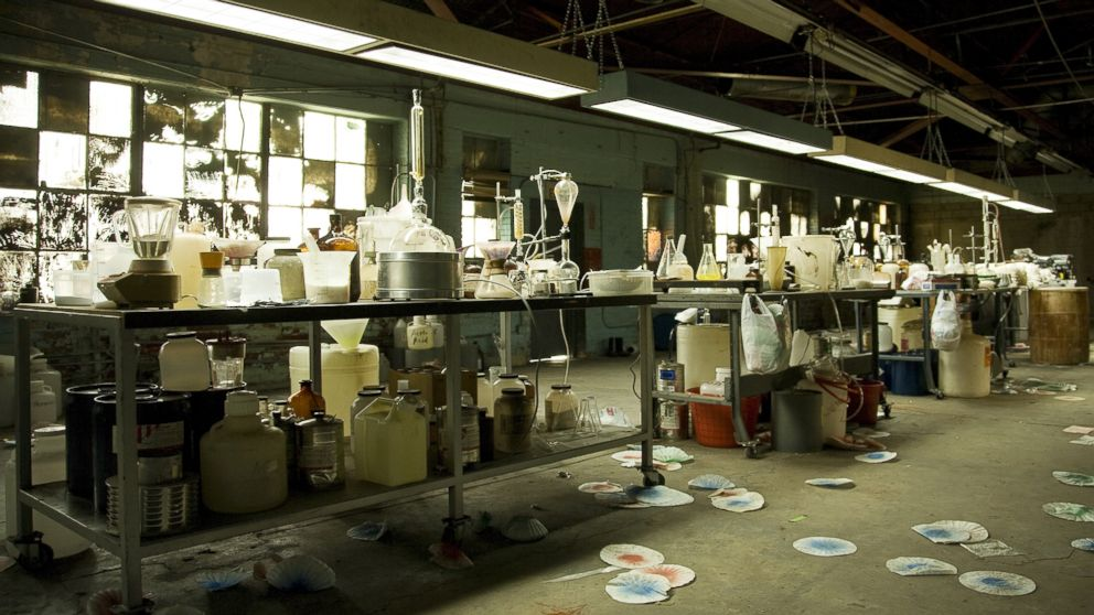 PHOTO: An illegal meth lab with equipment everywhere is shown in this undated file photo.
