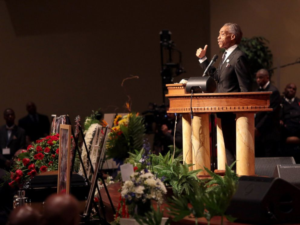 PHOTO: The Rev. Al Sharpton speaks during the funeral of Michael Brown inside Friendly Temple Missionary Baptist Church on Aug. 25, 2014 in St. Louis Mo.