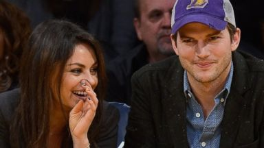 PHOTO: Mila Kunis and Ashton Kutcher attend a basketball game between the Utah Jazz and the Los Angeles Lakers at Staples Center, Jan. 3, 2014 in Los Angeles.