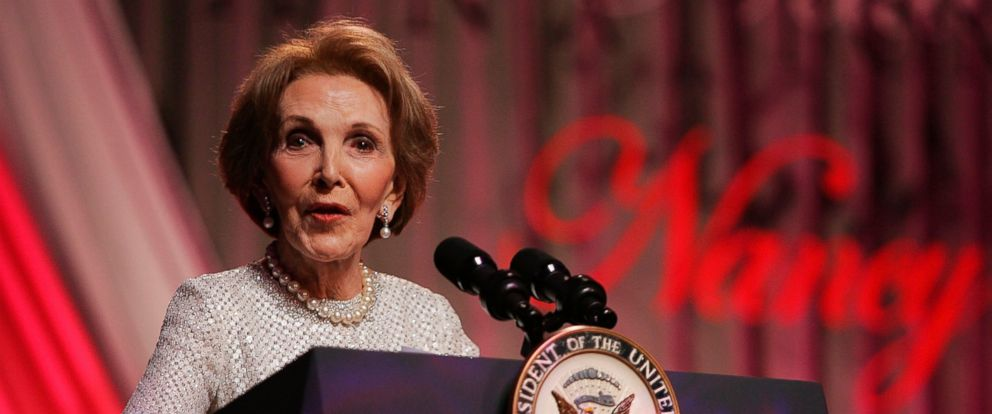 "PHOTO: Former First Lady Nancy Reagan speaks at the end of the ""A Nation Honors Nancy Reagan,"" dinner at the Ronald Reagan Building May 11, 2005 in Washington."