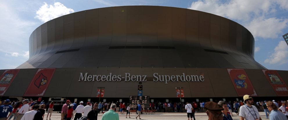 PHOTO: The exterior of the Mercedes-Benz Superdome is seen in New Orleans, La., March 31, 2012.