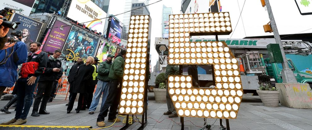 PHOTO: New Years Eve numerals arrive in Times Square prior to installation atop One Times Square, at Times Square on Dec. 16, 2014 in New York City.