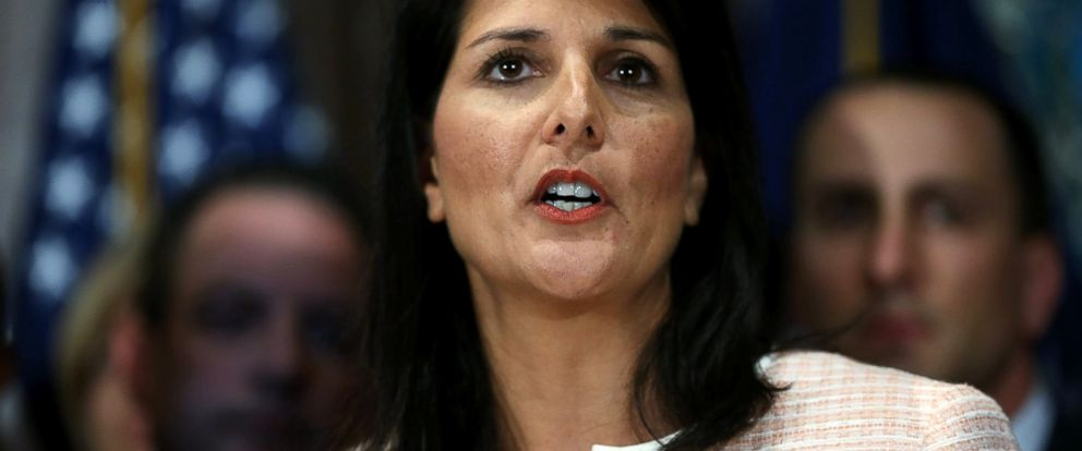 PHOTO: South Carolina Gov. Nikki Haley speaks to the media as she asks that the Confederate flag be removed from the state capitol grounds, June 22, 2015, in Columbia, S.C.