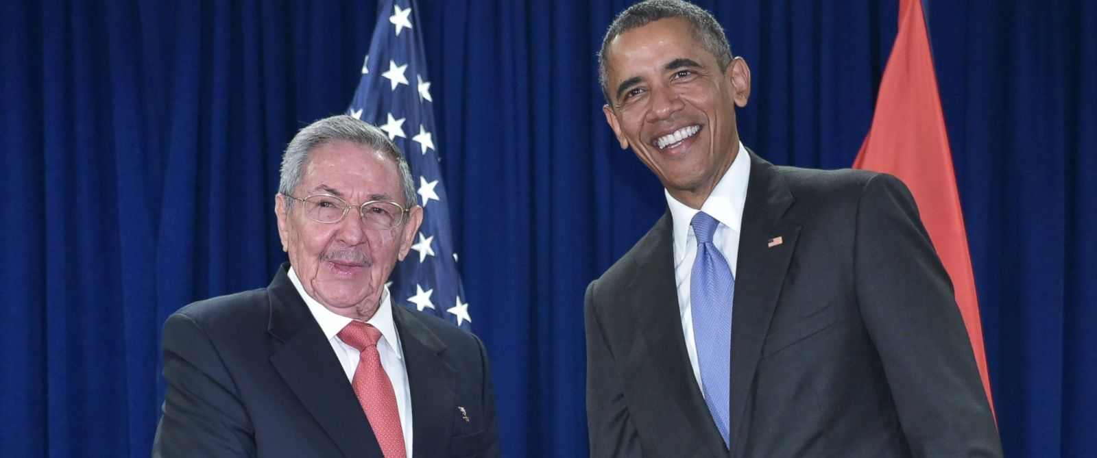 PHOTO:US President Barack Obama shakes hands with Cubas President Raul Castro during a bilateral meeting on the sidelines of the United Nations General Assembly at UN headquarters in New York, Sept. 29, 2015.