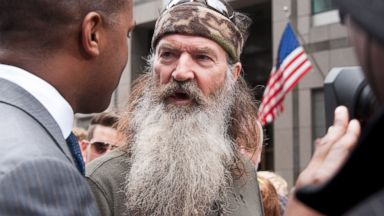 "PHOTO: Phil Robertson visits ""Extra"" in Times Square, May 7, 2013, in New York City."