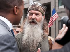 PHOTO: Phil Robertson visits Extra in Times Square, May 7, 2013, in New York City.