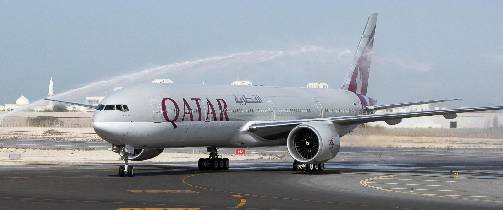 PHOTO: The first-ever Boeing aircraft 777 delivered to the state-owned Qatar Airways stands on the runway at Doha airport, Nov. 29, 2007.