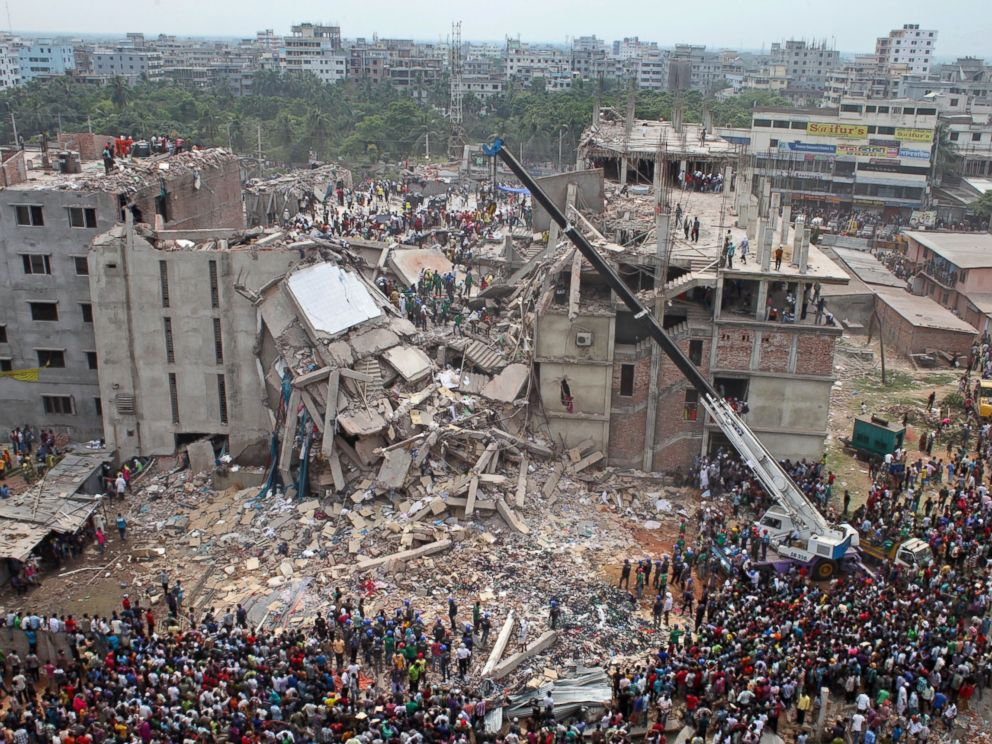 PHOTO: A file photo dated April 24, 2013 shows the general view of the Rana Plaza building collapse in Dhaka, Bangladesh.