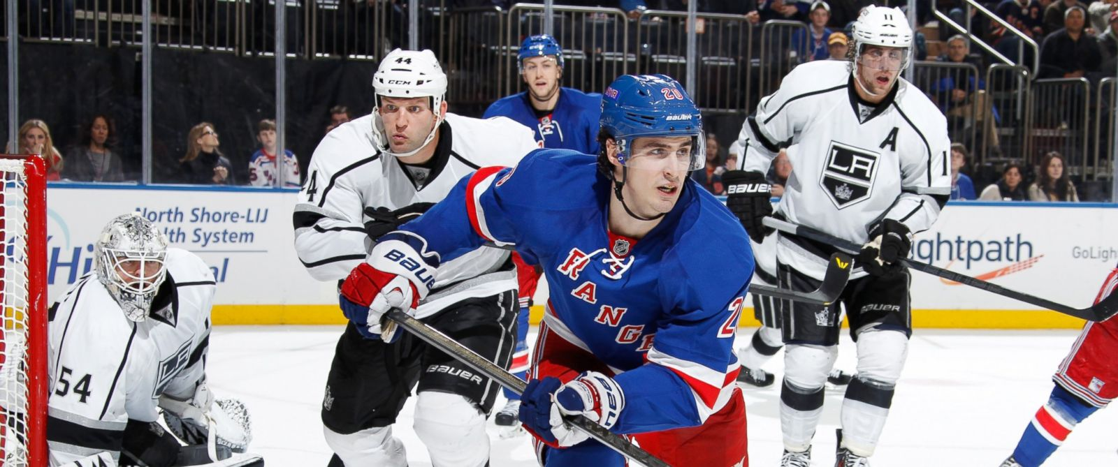 PHOTO: Chris Kreider of the New York Rangers skates against the Los Angeles Kings in New York