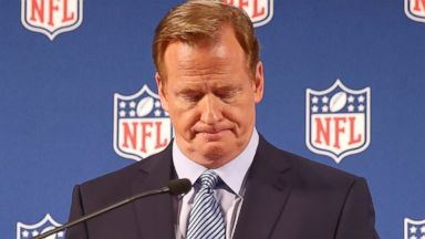 PHOTO: NFL Commissioner Roger Goodell talks during a press conference at the Hilton Hotel
