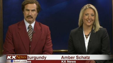 PHOTO: Ron Burgundy participates in the KXMB TV News evening broadcast with Amber Schatz
