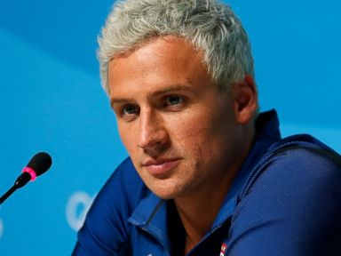 PHOTO: Ryan Lochte of the United States attends a press conference in the Main Press Center on Day 7 of the Rio Olympics, Aug. 12, 2016 in Rio de Janeiro, Brazil.