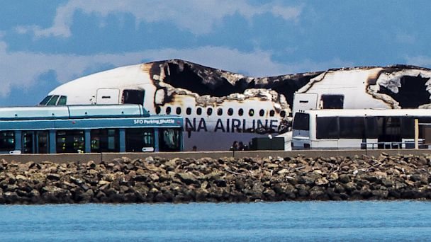 PHOTO: The remains of a  Boeing 777 airplane sits on a tarmac after having crashed while landing at San Francisco International Airport July 6, 2013 in San Francisco.
