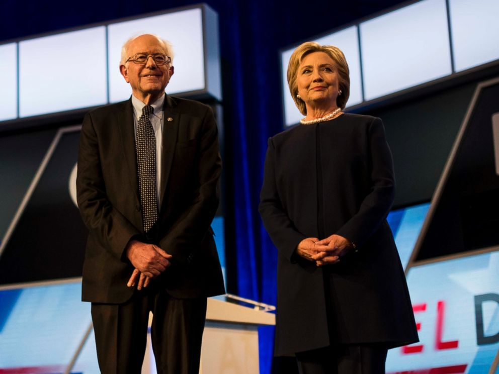 PHOTO:Hillary Clinton and Bernie Sanders participate in the Univision News and Washington Post Democratic Presidential Primary Debate, March, 9, 2016, in Miami.