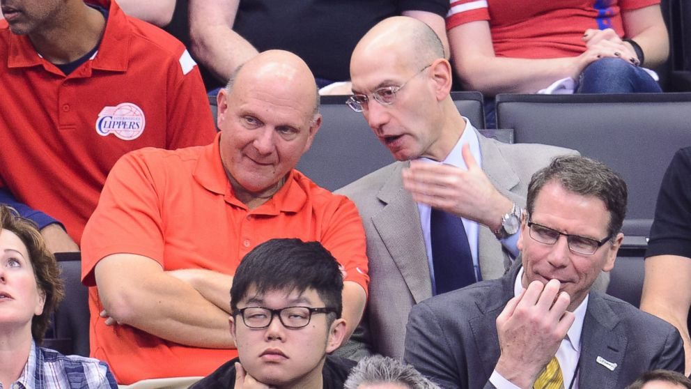 PHOTO: Steve Ballmer, left, and NBA Commissioner Adam Silver attend an NBA playoff game between the Oklahoma City Thunder and the Los Angeles Clippers at Staples Center on May 11, 2014 in Los Angeles, Calif.