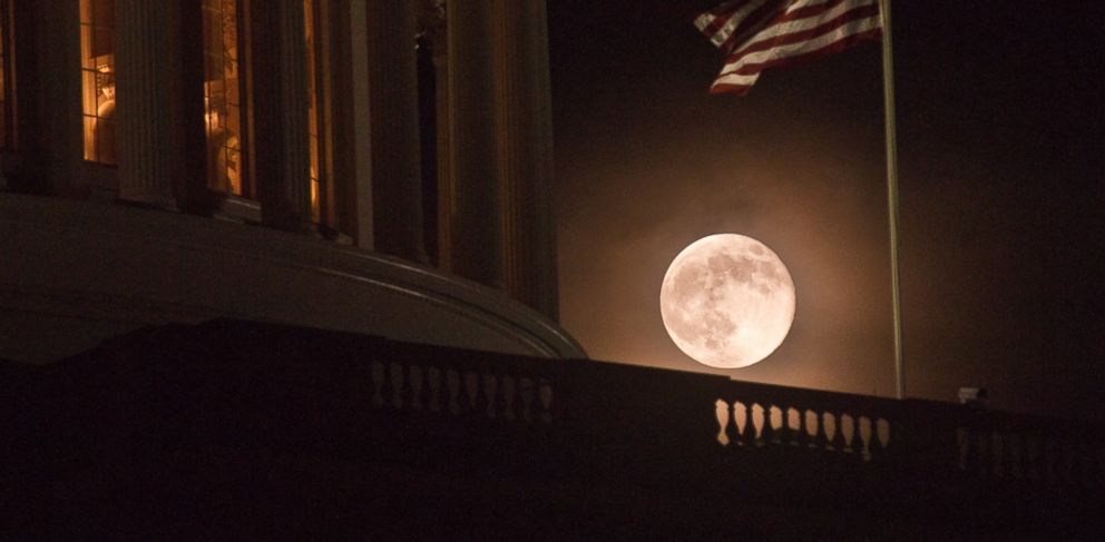 PHOTO: The full moon rises behind the US Capitol in Washington, in this file photo, June 23, 2013.