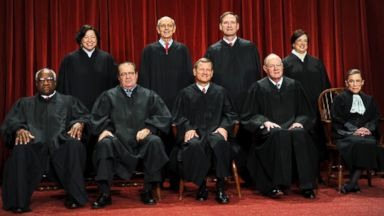 PHOTO: The Justices of the US Supreme Court sit for their official photograph on October 8, 2010 at the Supreme Court in Washington.
