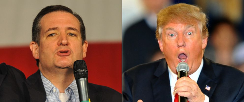 PHOTO: (L-R) Republican presidential candidate Sen. Ted Cruz at the Iowa State Fair in Des Moines, Iowa, Oct. 31, 2015.   Republican Presidential Candidate Donald Trump at a Town Hall style campaign rally in Des Moines, Iowa, Dec. 11, 2015.