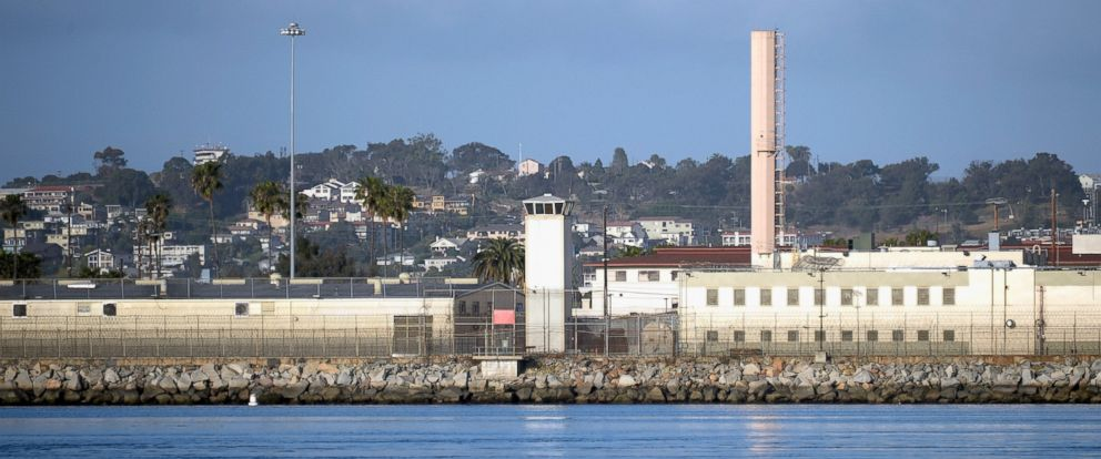PHOTO: Watch towers of Federal Correctional Institution, Terminal Island are seen at the entrance of the Port of Los Angeles in this 2013 file photo.