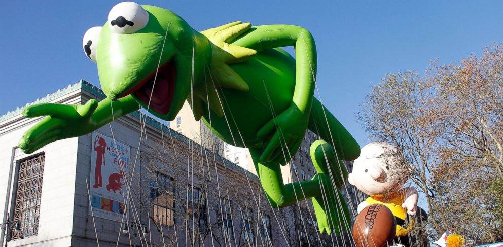 PHOTO: The Kermit balloon floats by at the 86th Annual Macys Thanksgiving Day Parade, Nov. 22, 2012, in New York City.