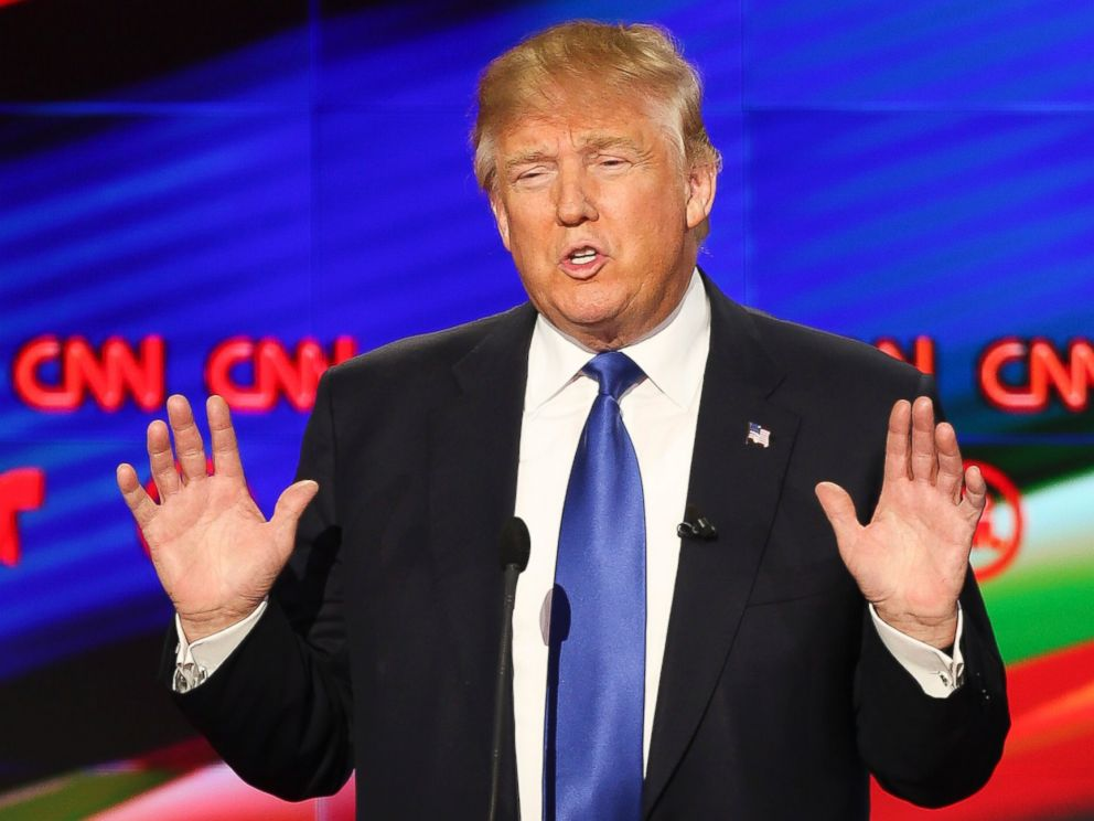 PHOTO: Donald Trump speaks during the Republican presidential debate, Feb. 25, 2016 in Houston, Texas.
