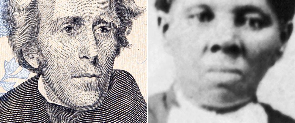 PHOTO: President Andrew Jackson on the twenty dollar bill, left, Harriet Tubman, right.