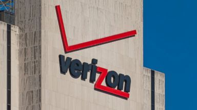 PHOTO: Verizon signage and logo is seen here on its building in New York.