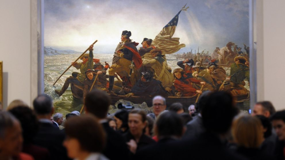 PHOTO: Emanuel Gottlieb Leutzes 1851 painting Washington Crossing the Delaware during a Press Preview for the Metropolitan Museum of Arts New American Wing Galleries for Paintings, Sculpture and Decorative Arts in New York, Jan. 12, 2012.