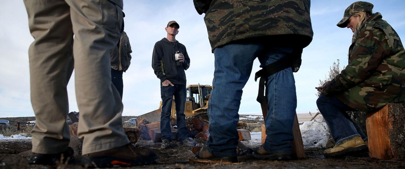 PHOTO: Members of the group occupying Malheur National Wildlife Refuge Headquarters are seen here on Jan. 6, 2016 near Burns, Oregon.